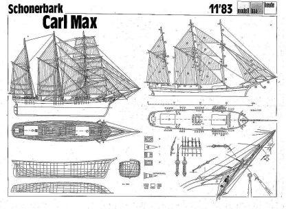 Topsail Schooner Carl Max XIXc ship model plans