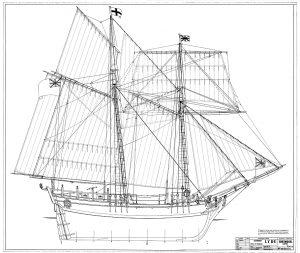 Topsail Schooner Lyde 1787 ship model plans