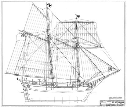 Topsail Schooner Lyde 1787 ship model plans