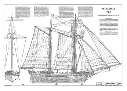 Topsail Schooner Marseille 1764 ship model plans