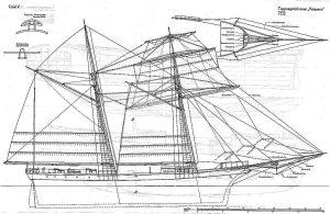 Topsail Schooner Vaquero 1852 ship model plans