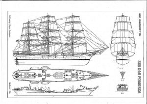 Training Ship Sss Dar Pomorza 1909 ship model plans