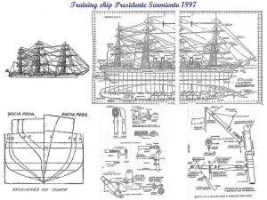 Training Vessel Presidente Sarmiento 1897 ship model plans