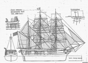 Whealer Moby Dick 1850 ship model plans
