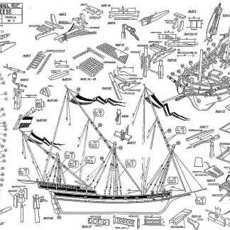 Xebec French (Sergal) ship model plans