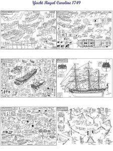 Yacht Royal Caroline 1749 ship model plans