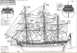 Yacht Hmy Royal Caroline 1749 Ver1 ship model plans