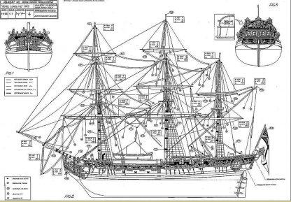 Yacht Hmy Royal Caroline 1749 Ver1 ship model plans