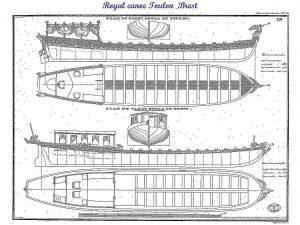 Barge Royal Canoe Toulon & Brest XIXc ship model plans
