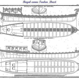 Barge Royal Canoe Toulon & Brest XIXc ship model plans