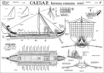 Bireme (Roman) Caesar Bc 30 ship model plans