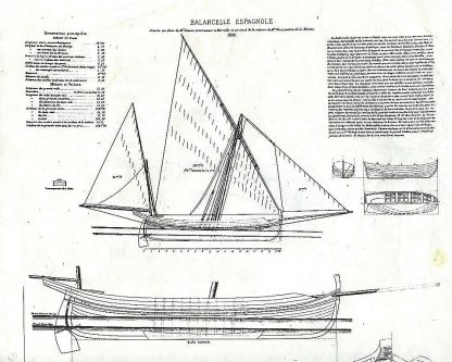 Boat Balancelle Espanole 1880 ship model plans