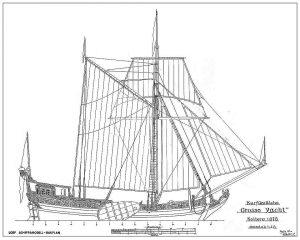 Boeier Grosse Yacht Kolberg 1678 ship model plans