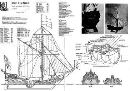 Boeier Stadt Fon Bremen 1690 ship model plans