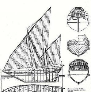 Dhow (Arabian) XVIIc ship model plans