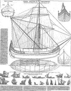 Tradeboat Coastal Ottoman ship model plans