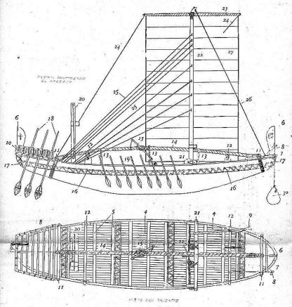 Trading Vessel (Egyptian) Bc 2500 ship model plans