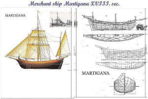Trading Vessel Martigana XVIIIc ship model plans