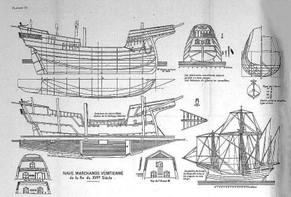 Trading Vessel (Venetian) XVIc ship model plans